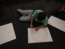 Photo of workshop participant drawing.