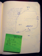 Page of listening journal with map.