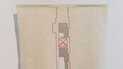 'Trait d'Union 2', 2017, embroidered and woven textile & performance, dress: 121 (l) x 81 (w) cm , i.c.w. Arden Rzewnicki
